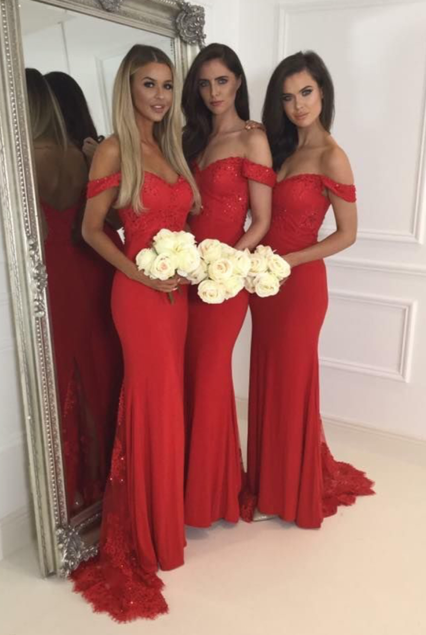 Red 2019 Cheap Bridesmaid Dresses Under 50 Mermaid Off The Shoulder Lace Beaded Backless Long Wedding Party Dresses For Women
