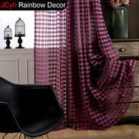 JRD Curtains For Living Room Solid Tulle Curtain Short Door Kitchen Window Drapes Jacquard Purple Sheer Voile Floral Curtains