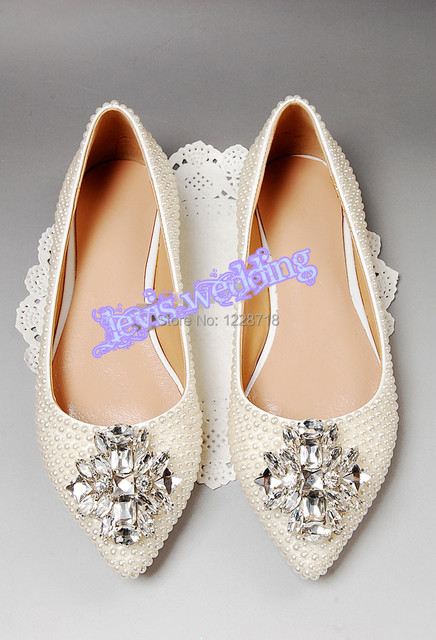 NEW 2015 White Ivory Pearls Bride Flats Crystal Wedding Shoes Rhinestone  Women Flat Sapatos Femininos Size