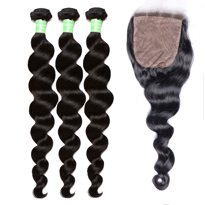Human Hair Bundles With Silk Base Closure 4Pcs Brazilian Loose Weave Bundles With Closures You May Hair Products Remy