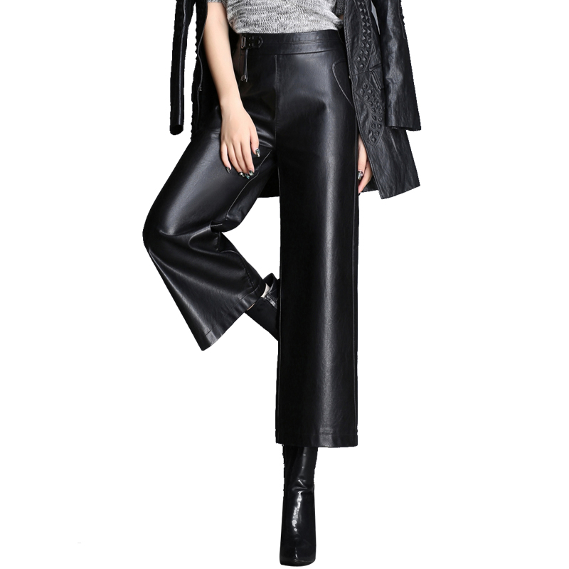 new Haining leather   pants   female leather high waist   wide     leg     pants   sheep skin loose nine   pants   casual   pants   tide