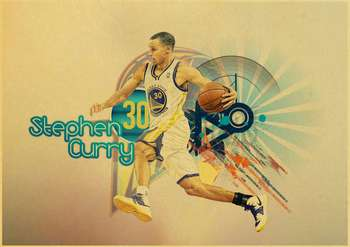 Stephen Curry basketball star vintage poster of a vintage kraft paper bar decorative wall sticker classic paintings 4