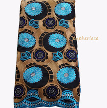 Hot sale 5 Yards BLACK+blue High quality African Swiss Voile Lace for wedding 100% Cotton Fabric-JL010
