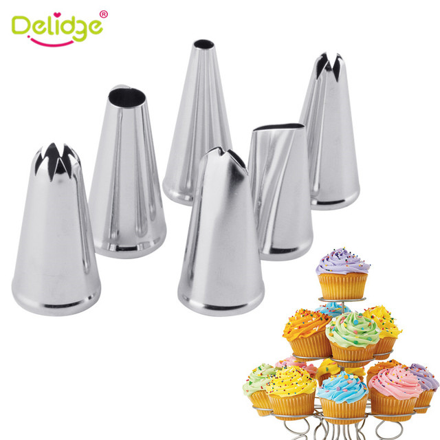 delidge 6pcs stainless steel cream nozzle mouth jam cream tip set