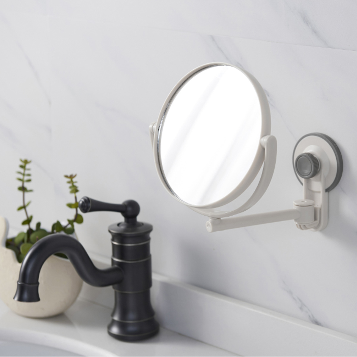 Round Wall Mirror Cosmetic Mirror Double-sided 1:3 Magnifying Mirrors Bathroom Makeup 360 Angle Swivel Mirrors