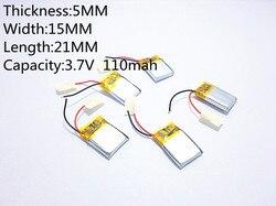 (Frete grátis) 051521 110 mah lithium-ion bateria de polímero de qualidade de produtos de qualidade de autoridade de certificação CE FCC ROHS
