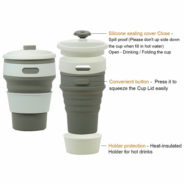 Coffee Cups Travel Collapsible Silicone Portable Tea Cup for Outdoors Camping Hiking Picnic Folding Office Water Mugs BPA Free