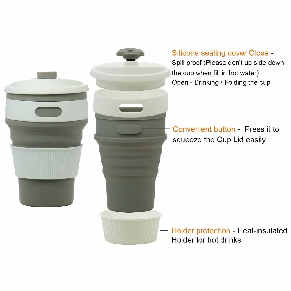 Tazas de café de viaje plegable de silicona Taza de té portátil - Cocina, comedor y bar - foto 3