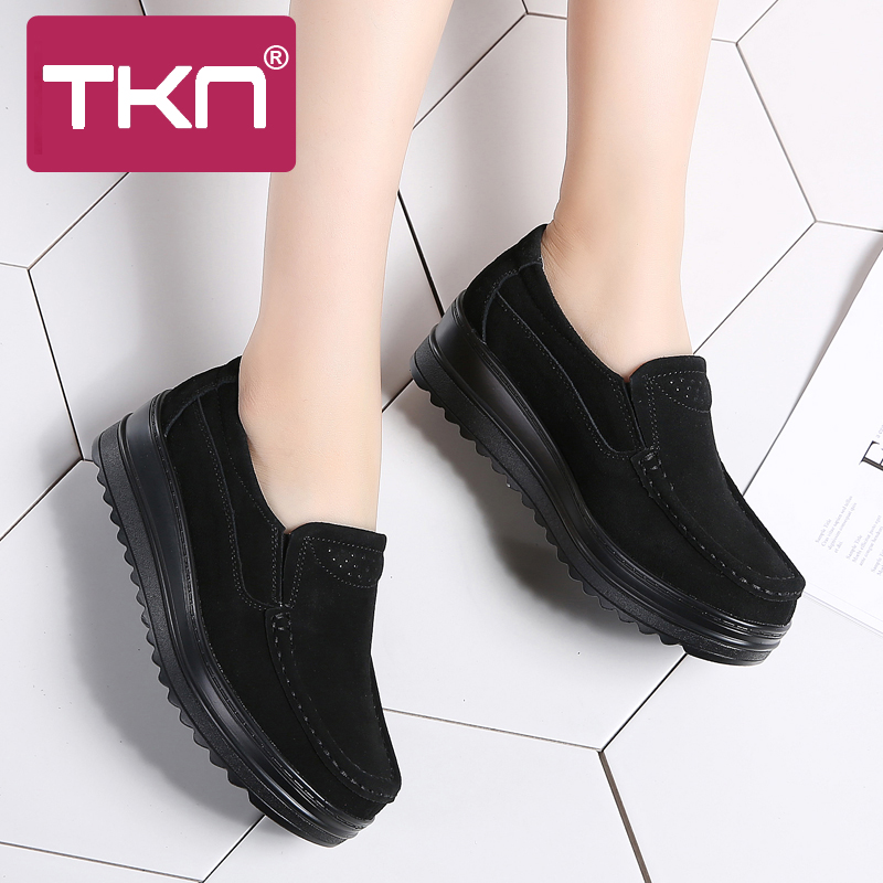 2019 Spring Women Flats Platform Shoes   Leather     Suede   Slip-On Moccasins Creepers Chaussure Femme Comfort Sneakers Shoes Woman 329