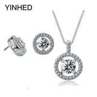 YINHED New Trendy Bridal Jewelry Sets 925 Sterling Silver 1.5ct Cubic Zirconia CZ Stud Earrings and Ring Set for Women ZS028