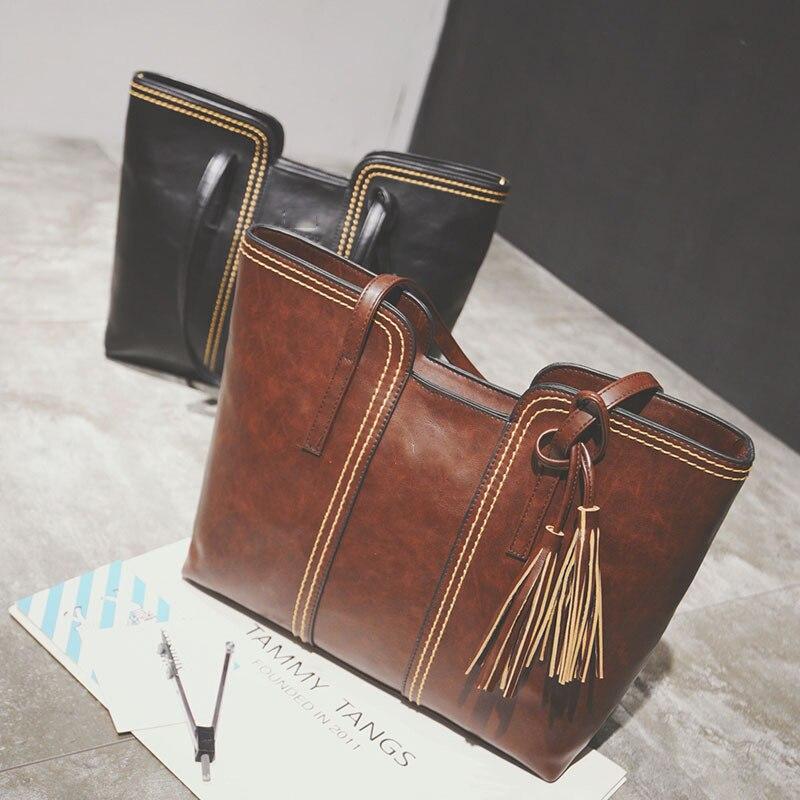 2017 Womens Shoulder bags simple tassel Luxury handbag brand Large capacity ladi