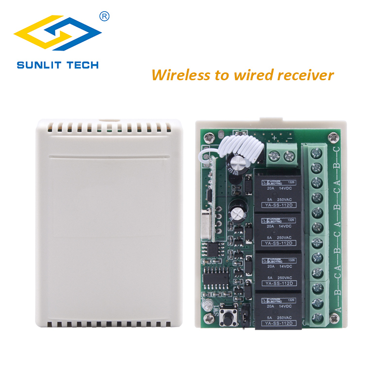 Wireless To Wired Receiver 4 Channel Relay Magnetic Alarm Contact Convert Wireless Signal To Wired