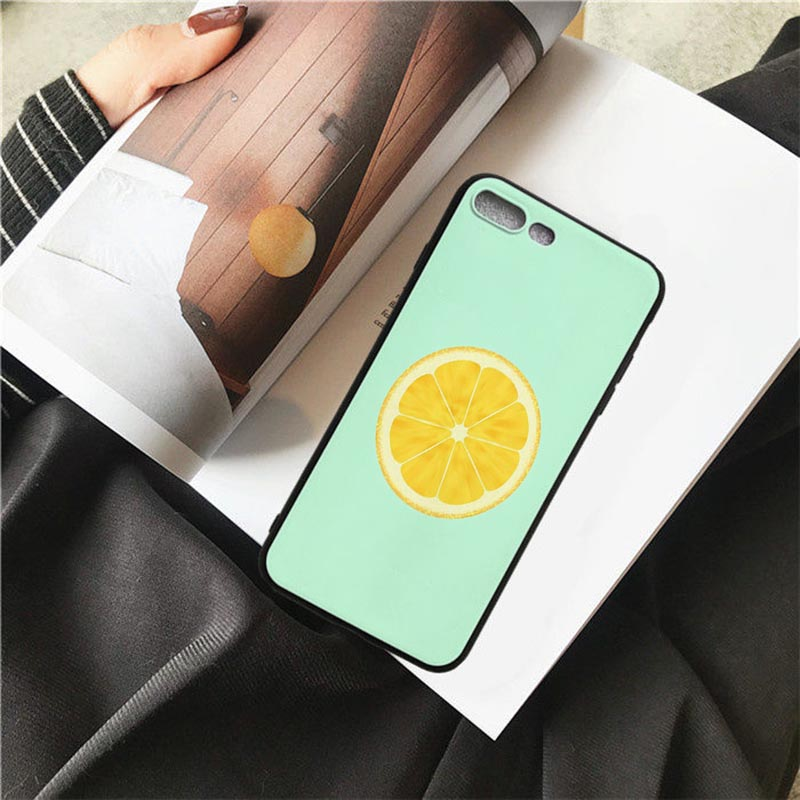 HOUSTMUST Fruits Lemon Black Soft Phone Case Cover For iPhone 6 6s 7 8 X 5 5S SE 6plus 7plus 8plus XR XS max phone case in Half wrapped Cases from Cellphones Telecommunications