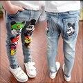 2016 весна осень детская одежда девушки джинсы, детский мультфильм маленькие ноги джинсы, мода Микки девушка Брюки детские брюки