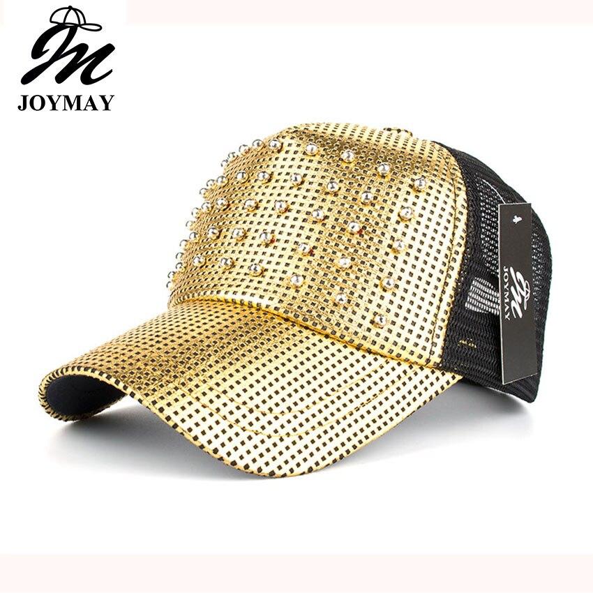 Prix pour Joymay printemps nouveau femmes métal couleur maille casquette de baseball avec perles pin up réglable loisirs mode casual snapback chapeau b428