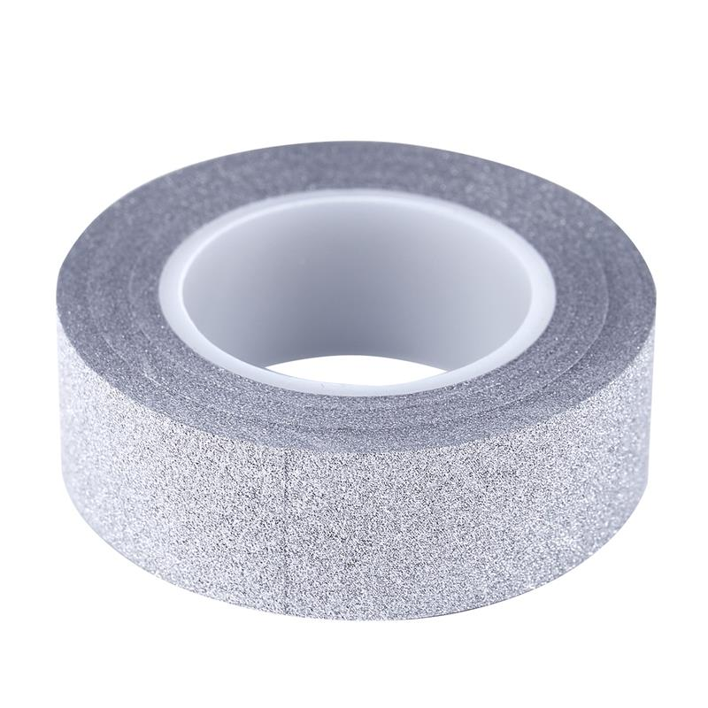 10M Glitter Tape Stick Self Adhesive Sticker Label Decorative Paper DIY Silver