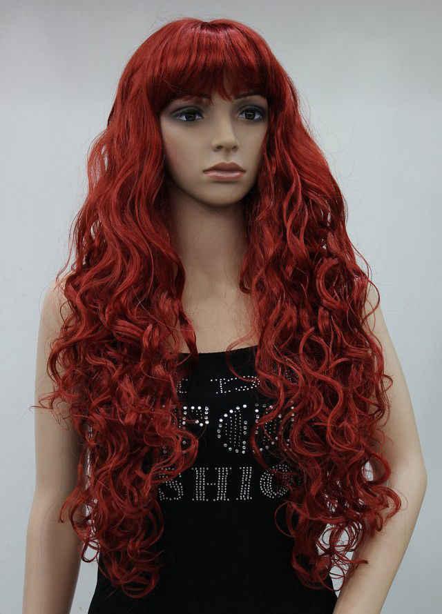 Бесплатная P & ^^^^^^^^ стильное темно-красные длинные вьющиеся пушистые Спайк Для женщин женский парик EXTLC066