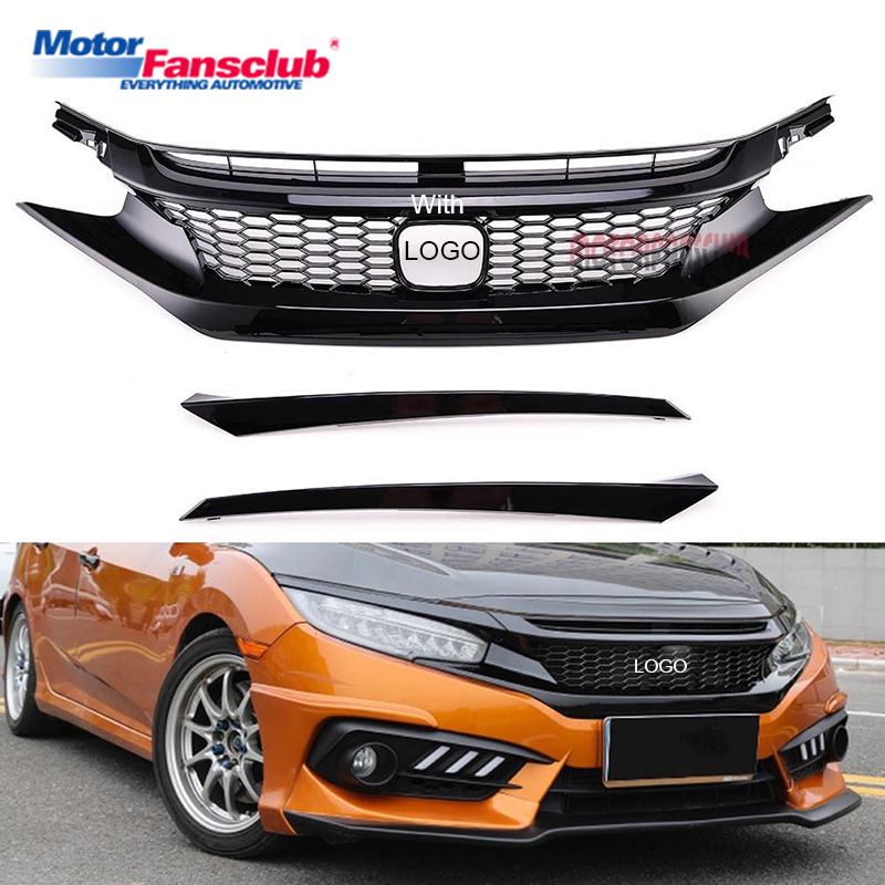 Car Racing Grille For Honda Civic Grill 10TH 2016-2017 GEN JDM CTR Glossy Black Radiator Mesh Honeycomb Front Hood Bumper Modify front radiator centre grille panel for ford for focus mk3 st line radiator grill bumper honeycomb mesh cover moulding part