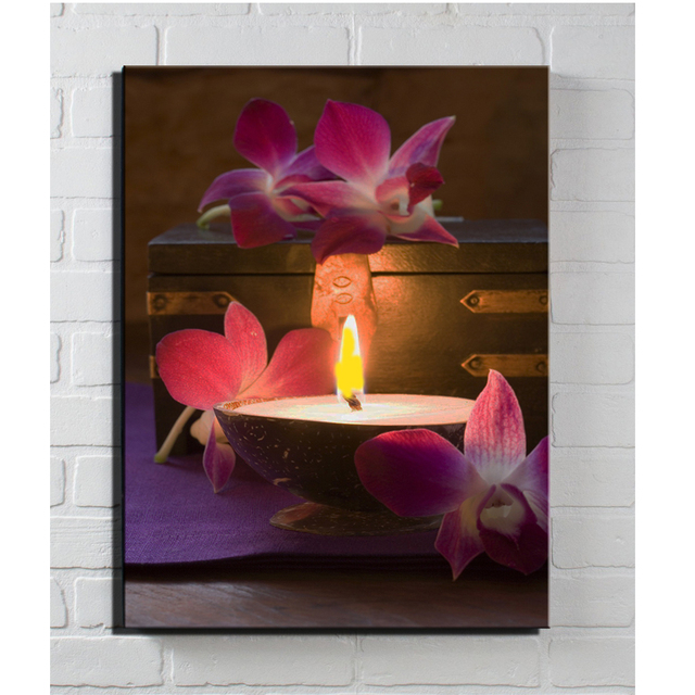 LED LIGHTED CANVAS Wall ART Light Table Decoration Orchids In Bowl Of Water  Candles Picture Flicking