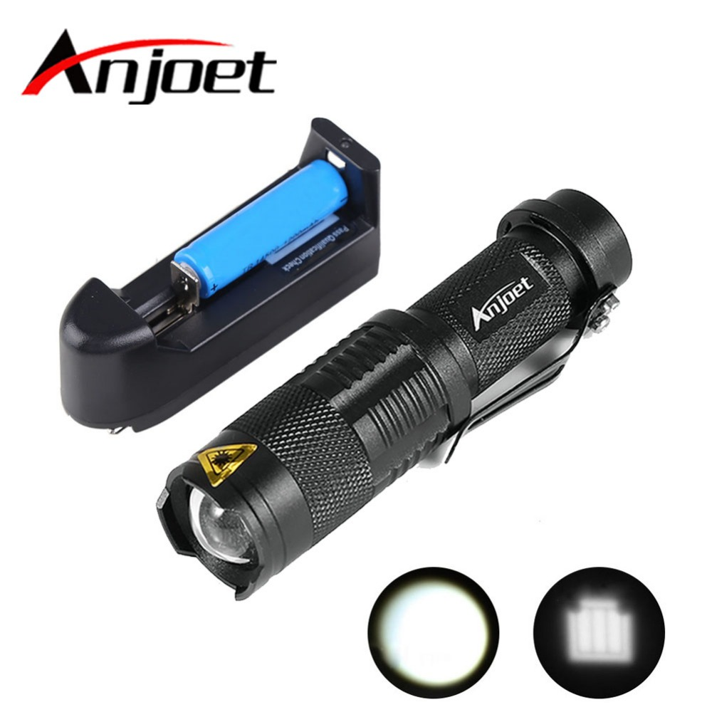 Mini LED Torch 7W 500LM CREE Q5-XPE LED Flashlight Adjustable Focus Zoom flash Light Lamp+14500 3.6V Battery+Battery Charger 5000lumnes usb cree xpe led flashlight zoomable flashlight torch flash light lamp lighting with usb charger battery