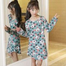 Famli New 2019 Children Cloth Cartoon Print Autumn Sleepdress Girls Baby Cotton Girl Sleepwear Dress Kids Party Nightgown