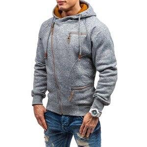 Image 2 - Nova moda masculina camisola com zíper outonnsolid malha streetwear masculino suéteres de inverno com cordão casual camisolas finas hip hop