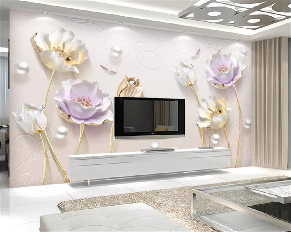 beibehang Embossed elegant Chinese simple jewelry three-dimensional tulip background wall paper decorative painting 3d wallpaper