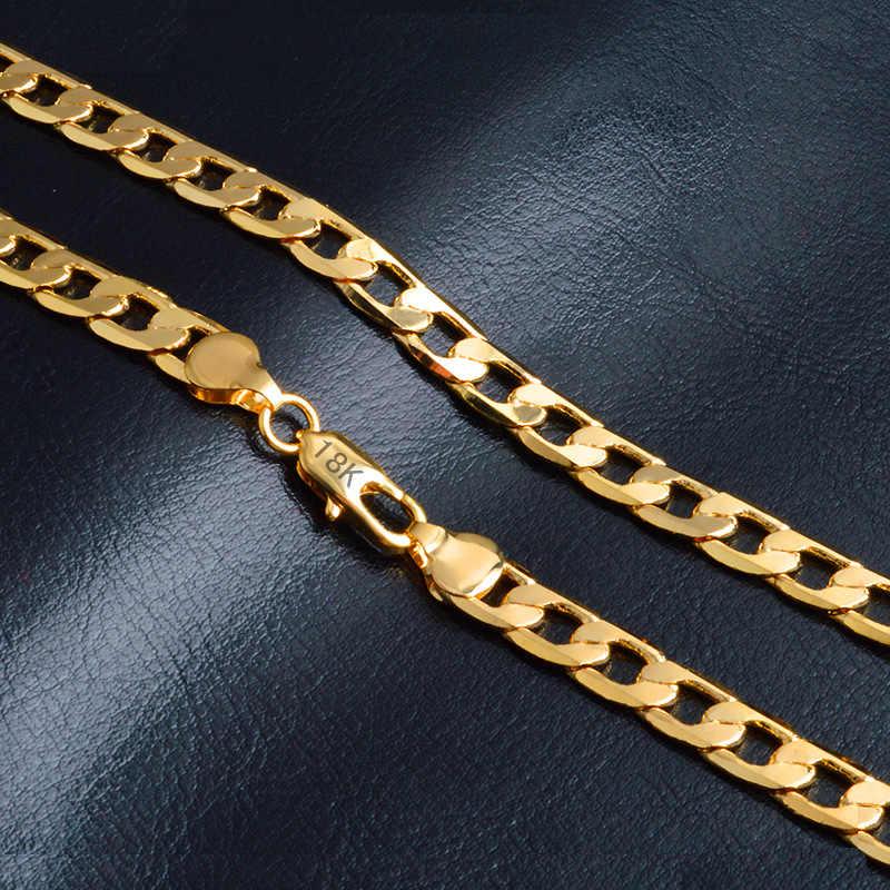 LETAPI 2019 nowy 2mm wysokiej jakości złota kolorowy naszyjnik łańcuch Figaro łańcuszki na szyję dla mężczyzn i kobiet złoty łańcuch Link naszyjnik hurtownie