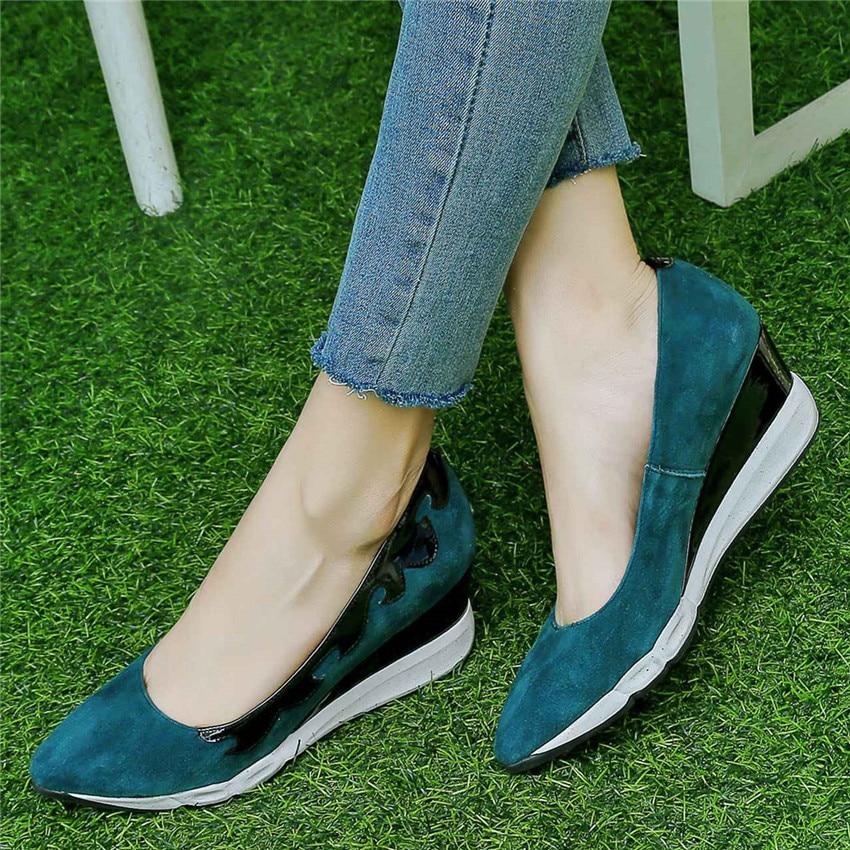 Wedge Chaussures Mocassins Haute Plat Femmes Qualité En vert Des Appartements Occasionnels De Véritable Glissement Cales Sur Marche Cuir forme Plate Noir OqYT07