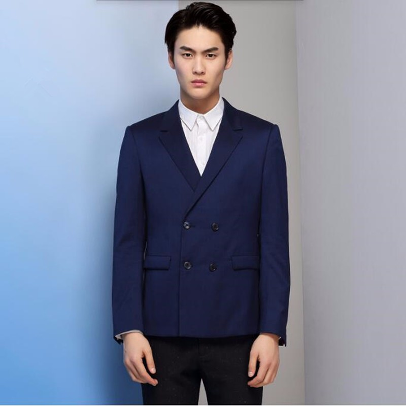 7.1Blue men suits jacket double breasted men\'s wedding tuxedos jacket tailor made formal business work suits jacket