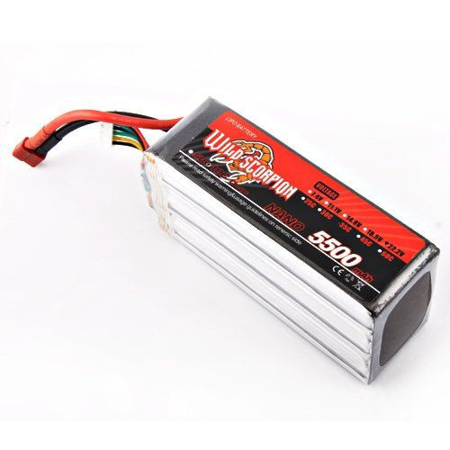 Wild Scorpion 22.2V 5500mAh 35C Li-polymer Battery RC Trex 600 700 +free shipping  цена и фото