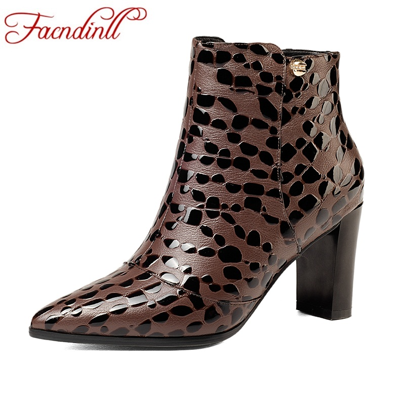 FACNDINLL fashion women ankle boots new sexy thick high heels pointed toe shoes woman dress party casual zipper riding boots 42 цены онлайн