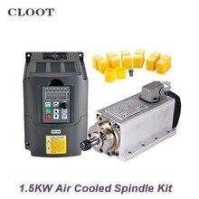 1.5KW Air Cooled Spindle Kit CNC Spindle Motor 1.5KW 220V/110V Inverter + 13pcs ER11 Collet Chuk For Milling Machine