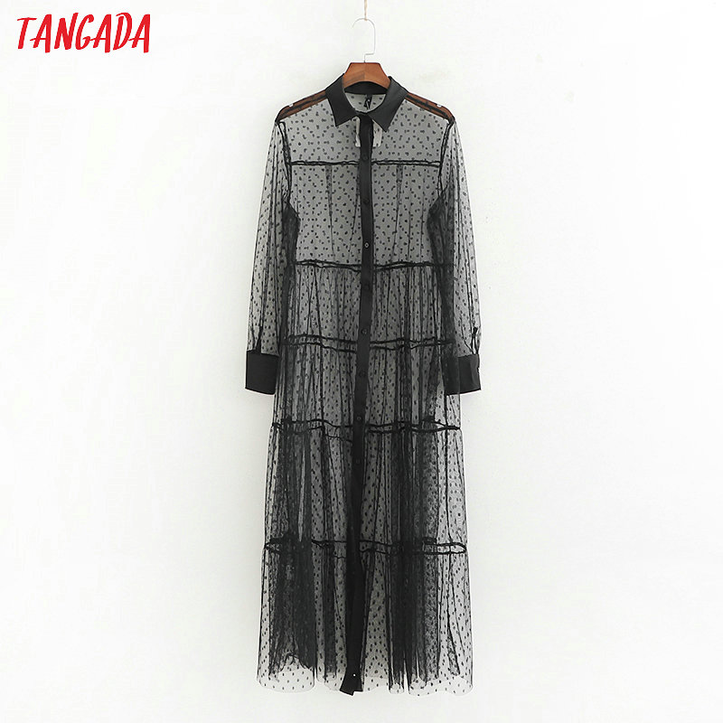 Tangada femmes à pois transparent maille chemise robe manches longues femme chic sexy noir blanc midi robes vestidos 1D151