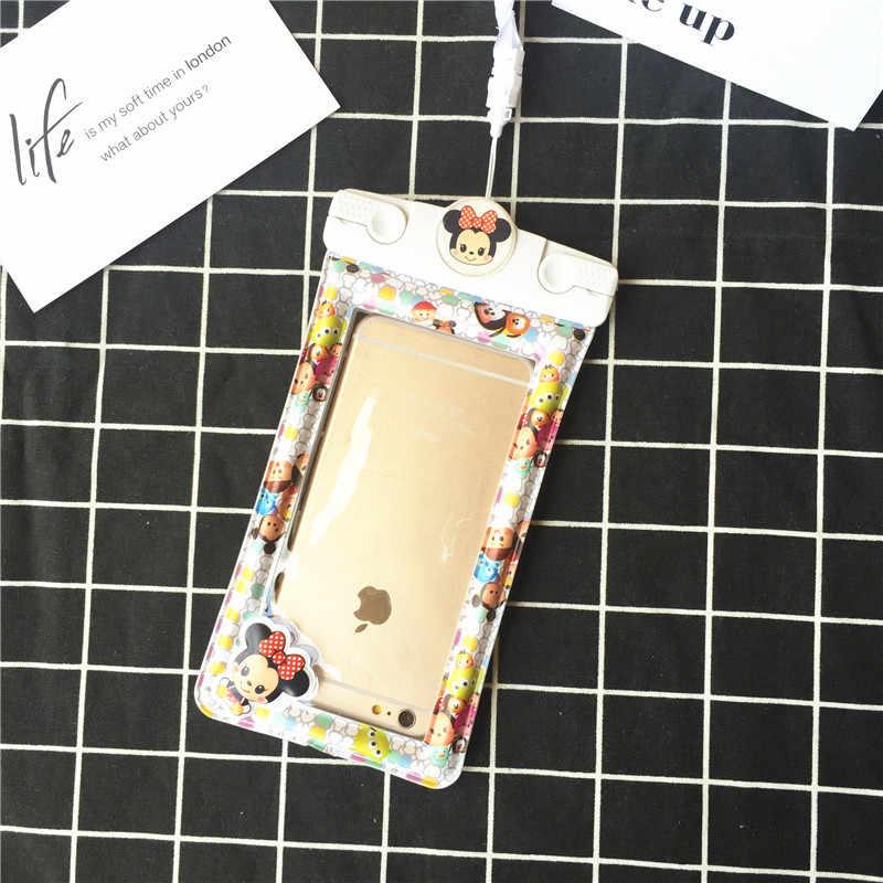 Cartoon Tier einhorn Wasserdichte Handy Taschen Schwimmen ballon Beutel Fällen Abdeckung für iPhone X 7/8 plus S8 s9 Schnee-Fall