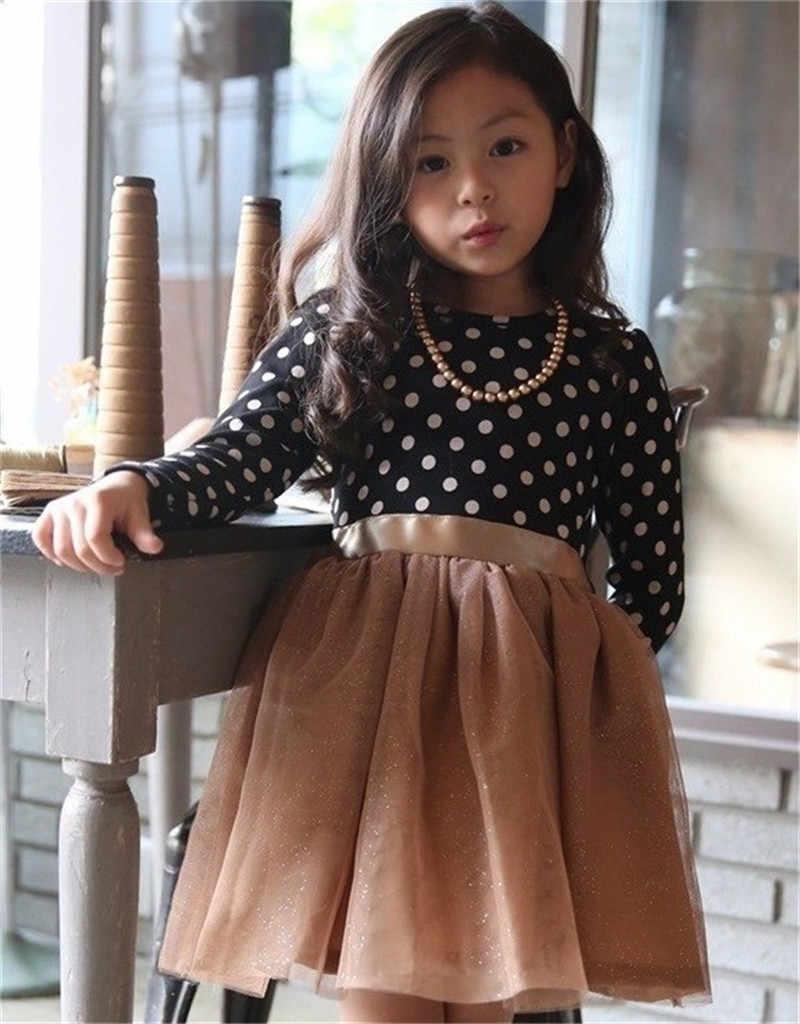 Polka Chấm Váy Cho Cô Gái Trẻ Em Mùa Thu Mùa Đông Trẻ Em Mới Bé Bow Knot Dài Tay Áo Cô Gái Ăn Mặc Quần Áo Đảng Phép Rửa Quần Áo 3-8Year