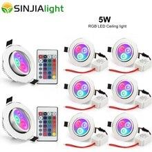 8 יח\חבילה 5W שקוע Downlight RGB LED תקרת מנורת ספוט אור עם rgb controler led מנורת הנורה תליון מקורה תאורת 85 265V