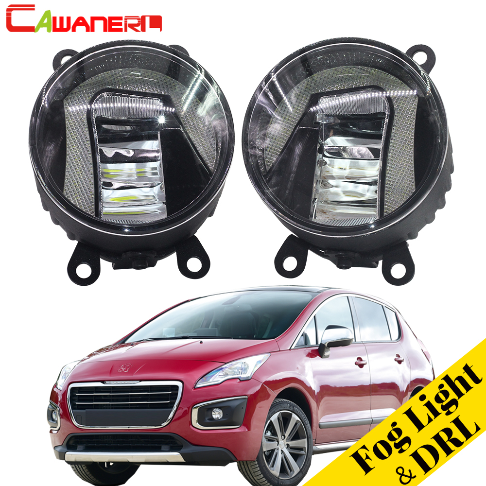 Cawanerl 2 Pieces Car LED Bulb Fog Light Daytime Running Lamp DRL White 12V Accessories For Peugeot 3008 MPV 2009-2013