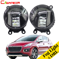 Cawanerl 2 Pieces Car LED Bulb Fog Light Daytime Running Lamp DRL White 12V Accessories For Peugeot 3008 MPV 2009 2013