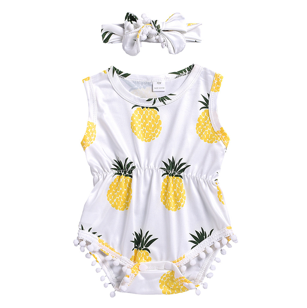2019 Clothing Baby Girls Boys Summer Outfits Infant Baby Pineapple Print Jumpsuit   Romper   +Headband Outfits Set