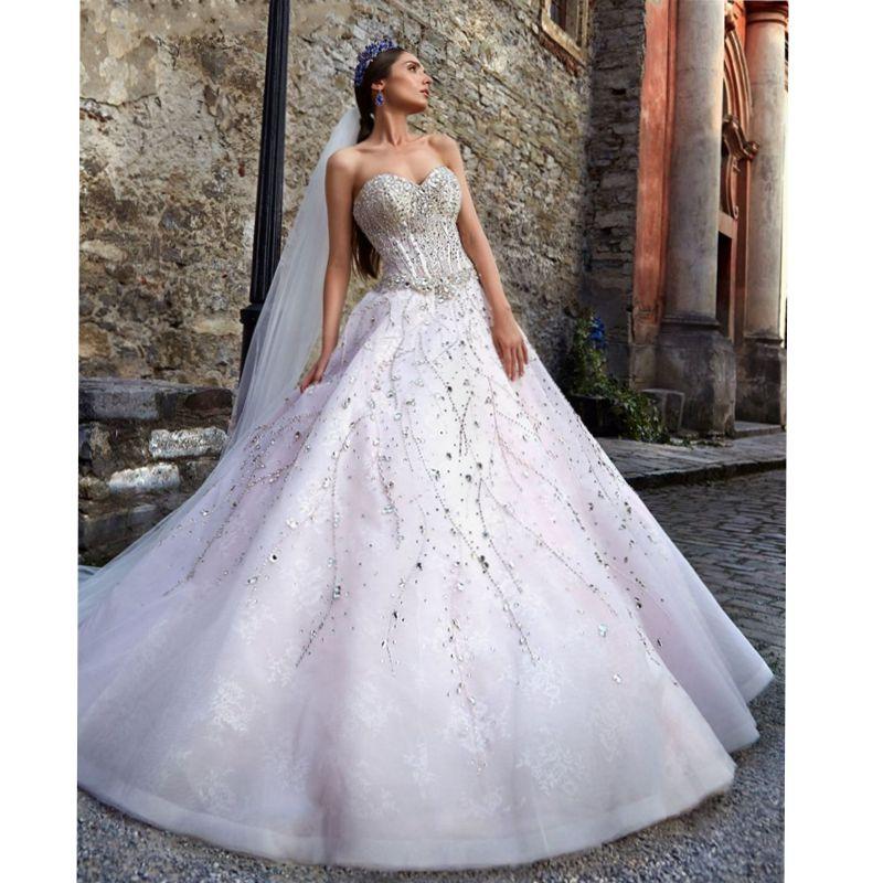 Glitter Wedding Gowns: 2017 Vestido De Noiva Wedding Dress Bling Bridal Gowns