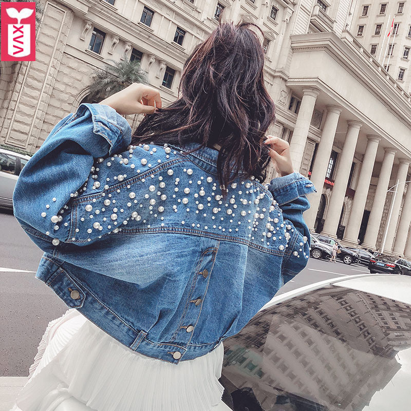 Quality Goods Women Cotton Denim Jeans Short Jacket Motorcycle Punk Imitation Pearl Beads Hip Hop Coats Spring 2019