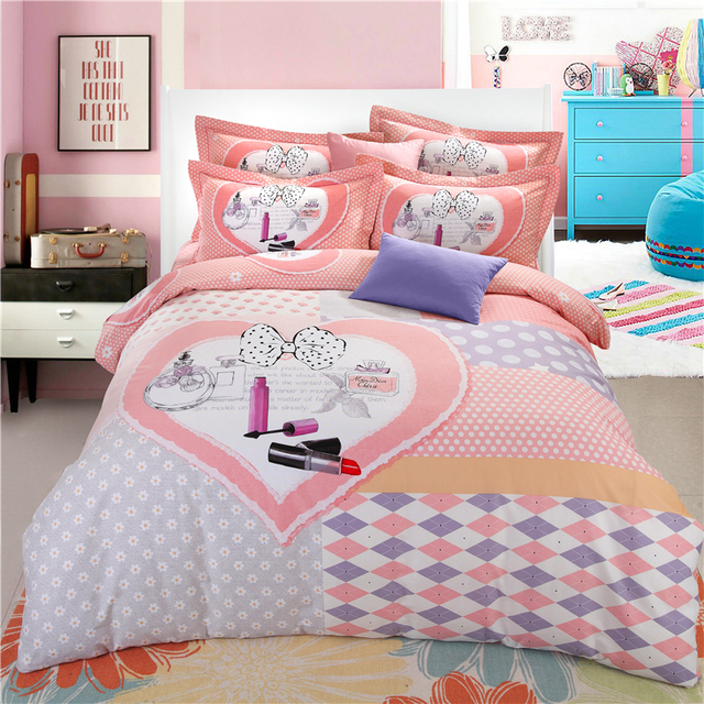 Lipstick Bowknot Duvet Cover Plaid Bed Sheets Love Heart Bed Cover Polka  Dot Bed Linen Girls