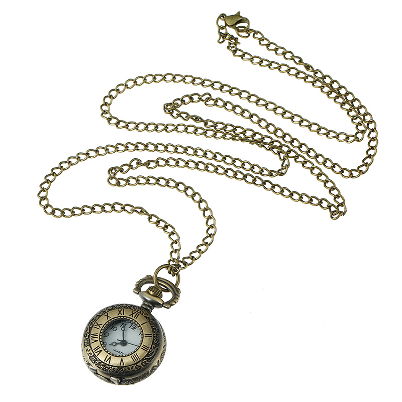NEW Small Roman POCKET WATCH Woman Chain Necklace Watch HOLLOWED Vintage STYLE Bronze Watch