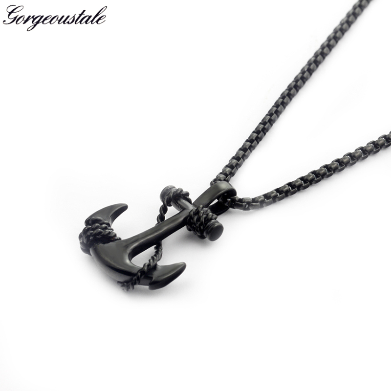 Pirate 316L Stainless Steel Navy Anchor Pendant Necklace 55cs