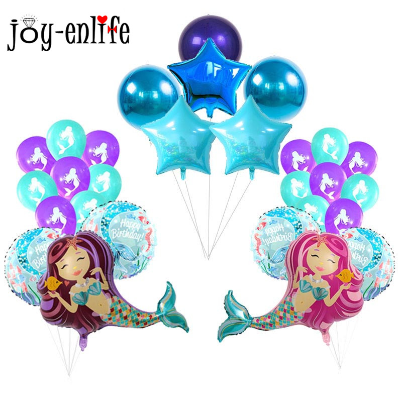 JOY-ENLIFE Birthday Party Foil Balloons Mermaid Party Decor Air Balloons Baby Shower Under Sea 1st First Birthday Party Supplies