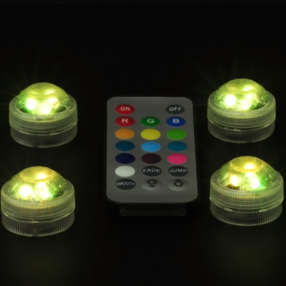 20pcs/lot 2 Remote Controller Waterproof Submersible LED Light with Batteries for Wedding,Party Decoration