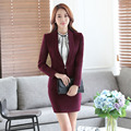 2016 Professional Formal OL Styles Novelty Wine Fashion Business Women Skirt Suits Jackets And Skirt Blazers Outfits Set Uniform