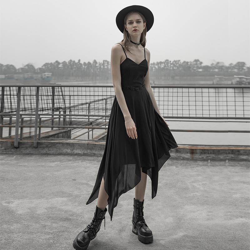 Punk Rave femmes Goth asymétrique Slim ajusté robe Slip PQ578LQ asie taille (S-L)