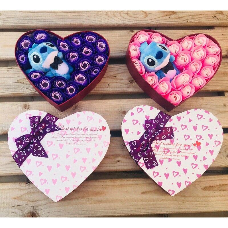 Künstliche plüsch Lilo stich spielzeug mit bouquets stich seife blumen Valentinstag rustikalen jäten dekoration für hochzeiten favor